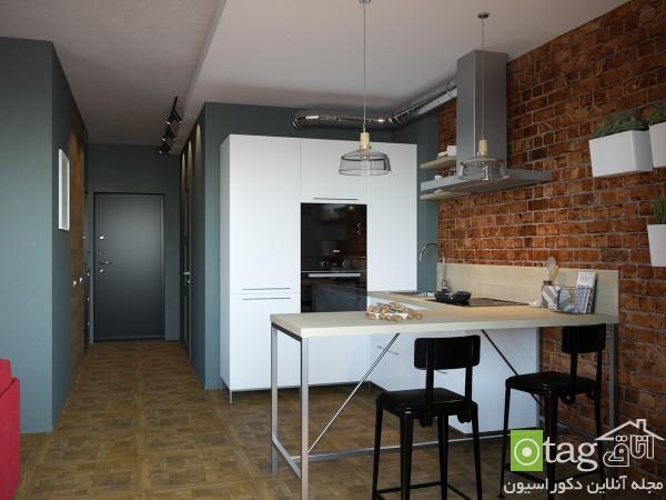 دکوراسیون آپارتمان کوچک با دیوارهای تاکیدی و چیدمانی دقیق